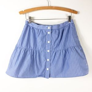 Madewell Blue and White Pin Stripe Button Skirt